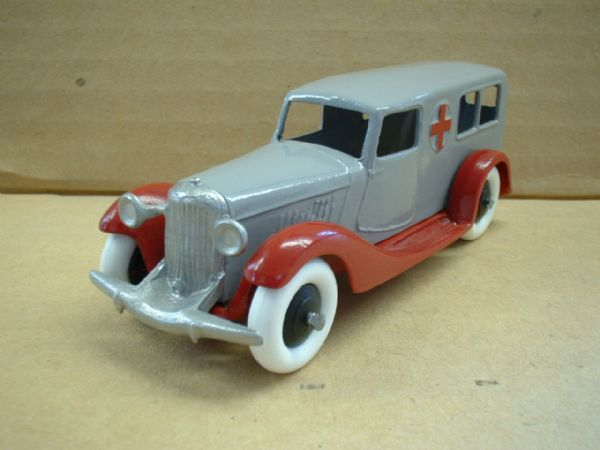 A DINKY TOYS COPY MODEL 30F AMBULANCE RED AND GREY
